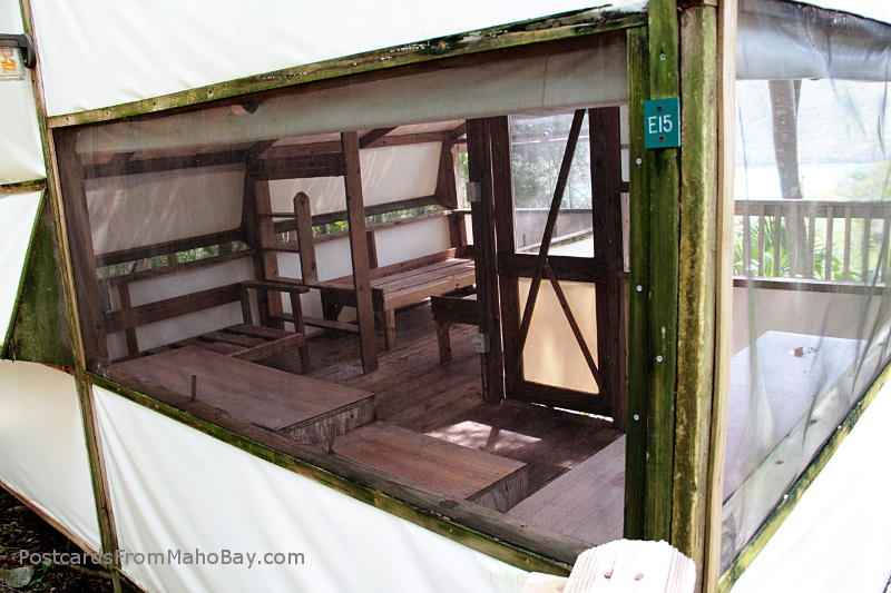 A typical interior - emptied  just before closing - of a tent cabin.