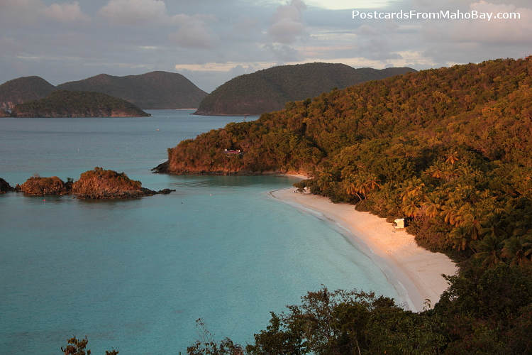 Sunset falling on Trunk Bay, St. John, USVI in early 2013.