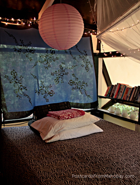 My bedroom in my staff tent at Maho Bay Camp.