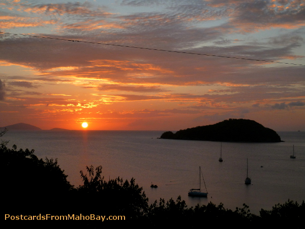 Sunset from Maho Bay Camp in April 2013.