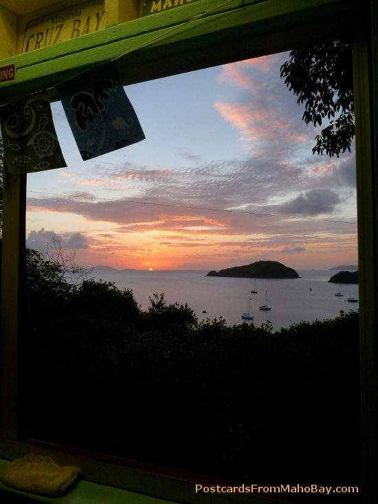 view of sunset from the store at Maho Bay Camp in April 2013.